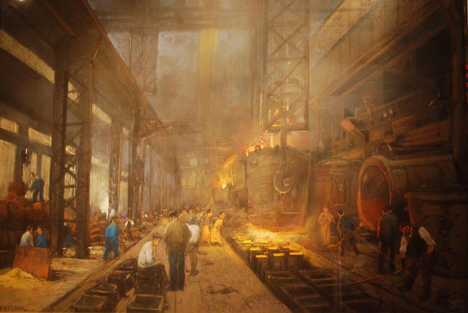 herman-heijenbrock-2-het-gieten-van-blokken-staal-pastel-collectie-corus-nr-418