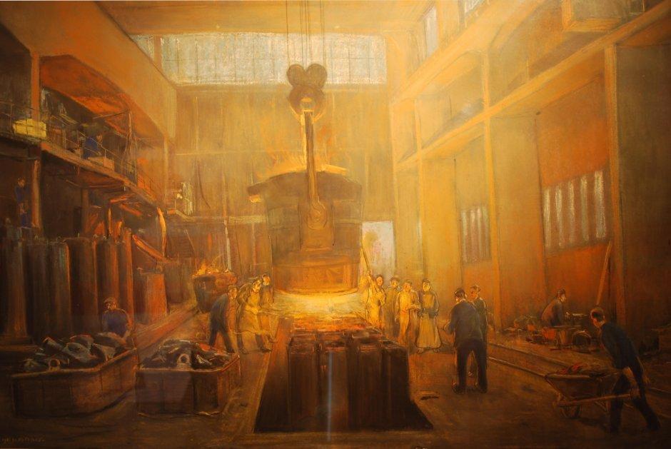 herman-heijenbrock-5-het-gieten-van-blokken-staal-pastel-collectie-corus-nr-155